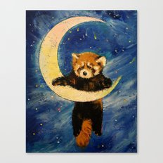 Red Panda Stars Canvas Print