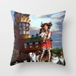 Gothic Lolita in the Shoe with Dogs Throw Pillow