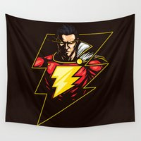 captain silva Wall Tapestries featuring Captain Thunder by Steven Toang