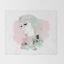 Floral Girl Throw Blanket