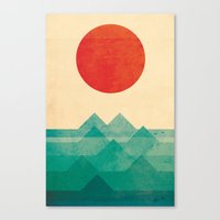 pixel art Canvas Prints featuring The ocean, the sea, the wave by Picomodi