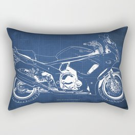 Suzuki blueprint, motorcycle drawing, whit and blue, vintage poster Rectangular Pillow