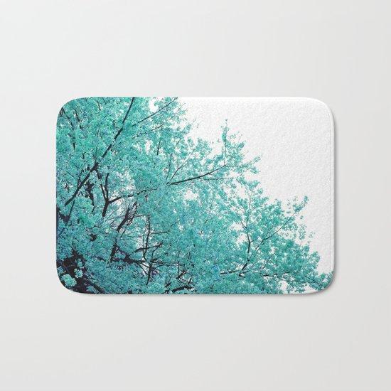 Turquoise Cherry Blossoms Bath Mat