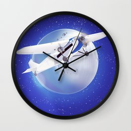Learn to Fly vintage poster Wall Clock