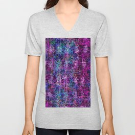 psychedelic abstract art pattern texture background in pink blue black Unisex V-Neck
