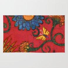 batik butterflies and flowers on red 2 Rug