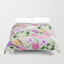 Joyful spring pink toned floral pattern with bird Duvet Cover