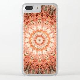 Vintage Bohemian Peach Mandala Clear iPhone Case