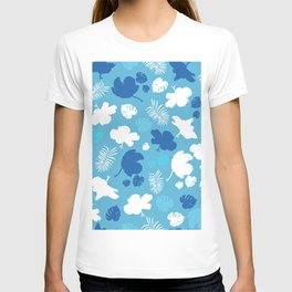Hand drawn hibiscus, tropical leaves blue and white  T-shirt
