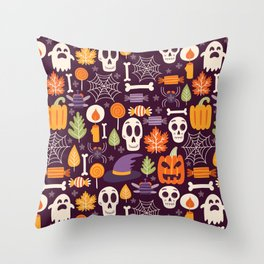 Retro Halloween Trick-Or-Treat Collage Throw Pillow