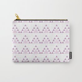 Lilac white modern geometrical abstract triangles pattern Carry-All Pouch