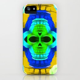 funny skull portrait with colorful roses in pink blue yellow green iPhone Case