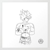 2pac Art Prints featuring 2pac//goku by ΛDX7