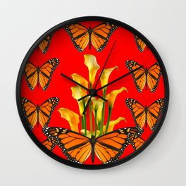 MONARCH BUTTERFLIES & GOLDEN CALLA LILIES RED ART Wall Clock