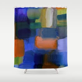 """""""Mosaic"""" Original oil finger painting by Monika Toth Shower Curtain"""
