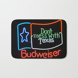 Don't Mess With Texas - Neon Beer Sign Bath Mat