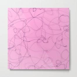 Creamy Strawberry pink cigar smoke lines design Metal Print