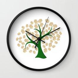 Golden dollars tree Wall Clock