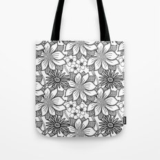Black and White Floral Drawing Tote Bag