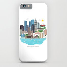 Boston Skyline Illustration iPhone Case