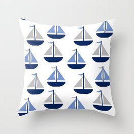 Nautical Sailboat Navy Blue Gray  Throw Pillow