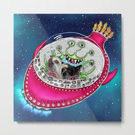 Chinese Crested Hairless Dogs in Space  Metal Print