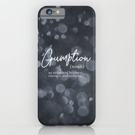 Gumption Definition - Word Nerd - Gray Bokeh iPhone Case