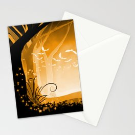 Dark Forest at Dawn in Amber Stationery Cards