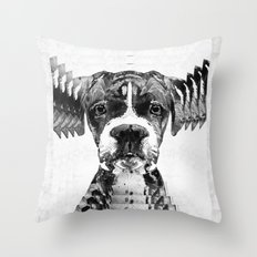 Black And White Boxer Dog Art By Sharon Cummings  Throw Pillow