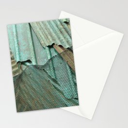 Photograph of corrugated iron forming a nice pattern in green, teal and blue. Fine Art Photography Print.  Stationery Cards