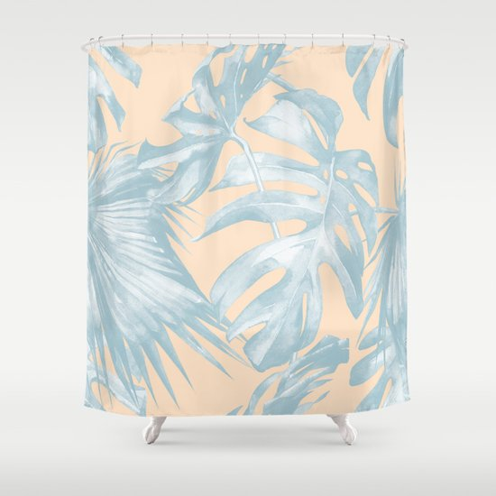 Tropical Plants Blue On Peach Coral Shower Curtain By Simple Luxe Society6