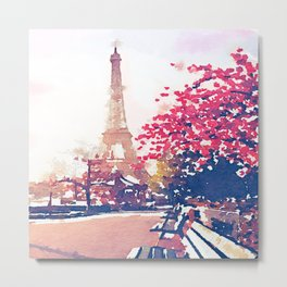The Eiffel Tower in the Fall Watercolor Painting Metal Print