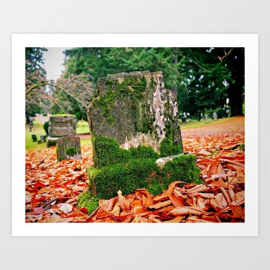 Autumn gravestone Art Print