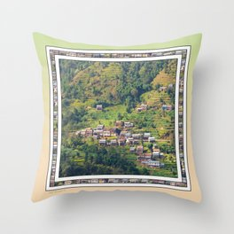 TERRACED HIMALAYAN FOOTHILLS VILLAGE IN NEPAL Throw Pillow