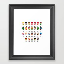 Superhero Alphabet Framed Art Print