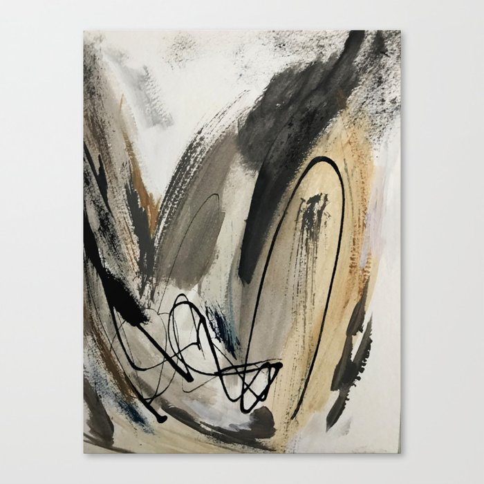 Drift [5]: a neutral abstract mixed media piece in black, white, gray, brown Leinwanddruck