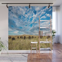 Grazing - Bison Graze Under Big Sky on Oklahoma Prairie Wall Mural