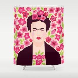 Frida Kahlo in flowers Shower Curtain