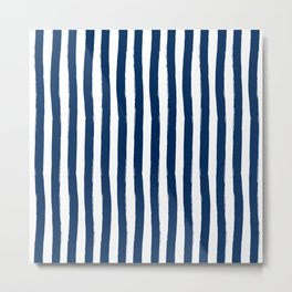 Navy and White Palm Beach Preppy Cabana Stripes Metal Print