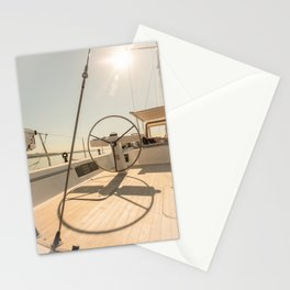 On deck of a sailing yacht- Nautical photography  Stationery Cards