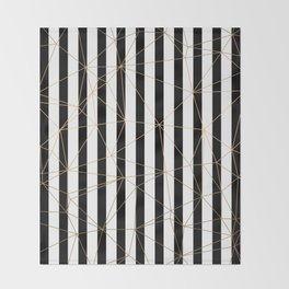 Black and White Stripes Gold Geometric Pattern Throw Blanket
