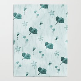 Turquoise flower pattern Poster