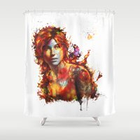 xbox Shower Curtains featuring Lara Croft by ururuty