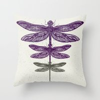dragonfly Throw Pillows featuring Dragonfly  by Rskinner1122