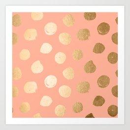 Sweet Life Polka Dots Peach Coral + Orange Sherbet Shimmer Art Print