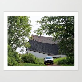 Collapsing Barn  Art Print