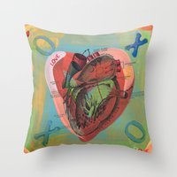 anatomical heart Throw Pillows featuring Anatomical Sacred Heart by Silva Ware by Walter Silva