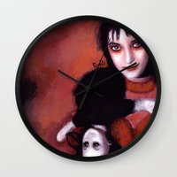 lydia martin Wall Clocks featuring Lydia Deetz by Rouble Rust