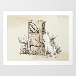 Tiki Cat Art Print