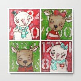 Snow couple / Reindeer Couple - by Diane Duda Art Metal Print